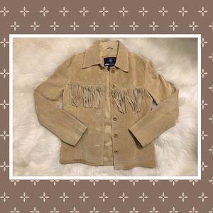 Blue Asphalt Tan Fringe Leather Jacket